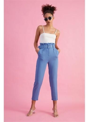 Z Giyim Kadın  Mavi  Kemerli Yüksek Bel Kumaş Pantolon Mavi